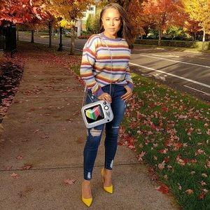 Trendy boutique Sweaters - Blue multi stripe crewneck pullover knit sweater🐠